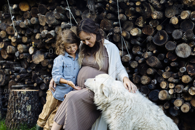 Pregnant mother with son and dog relaxing at stack of wood