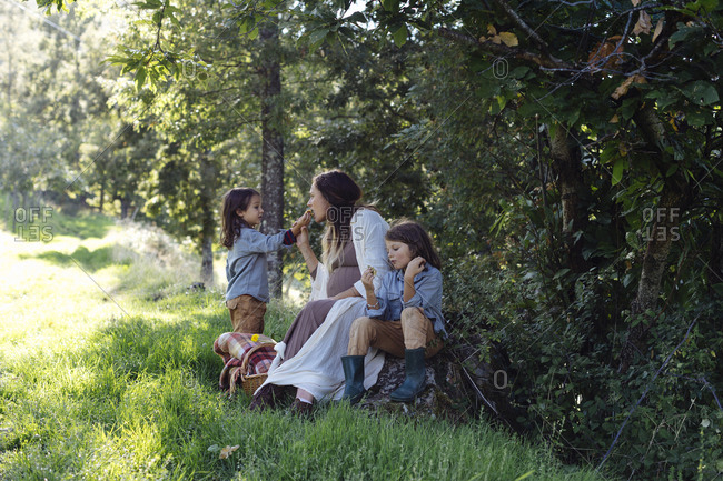 Pregnant mother with two kids having a picnic in the countryside