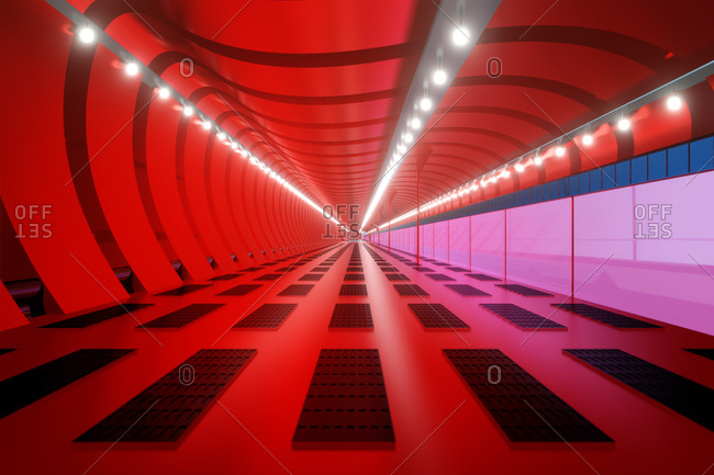 3D Rendered Illustration- visualization of a science fiction spaceship- gangway