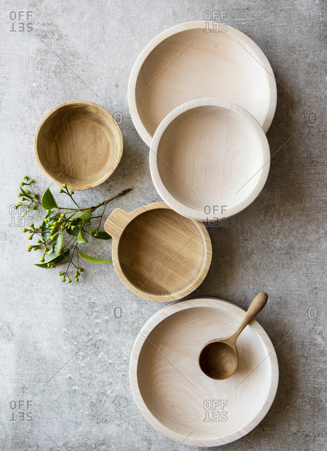 Hand crafted wooden bowls and spoon