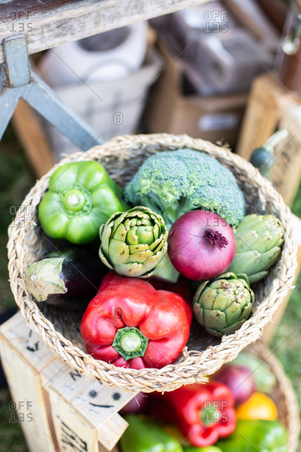 Close up of fresh colorful vegetables in a basket