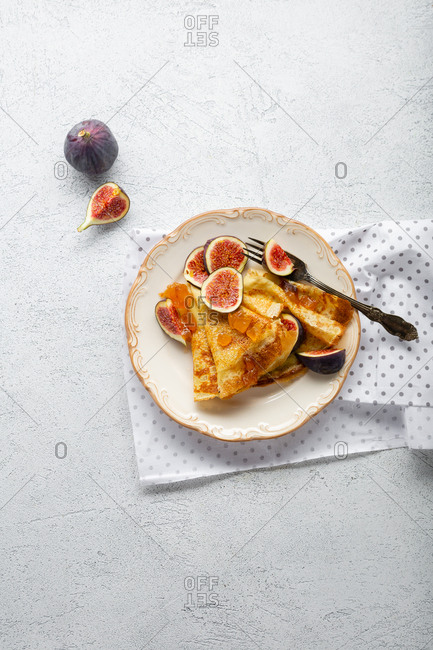 Crepes with fig fruit