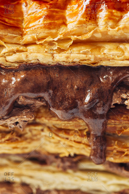 Close-up of a chocolate and caramel puff dough dessert