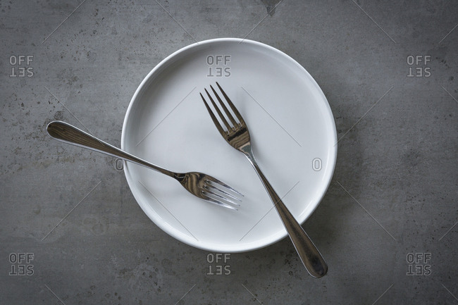 Two forks on a white plate