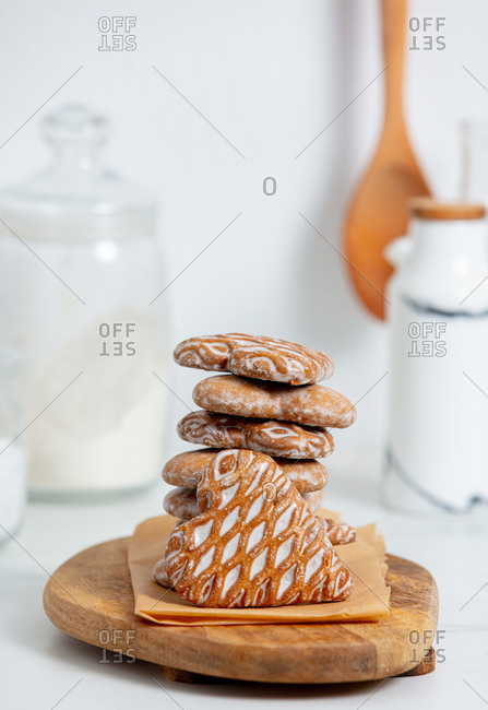 Gingerbread cookies on desk on a table