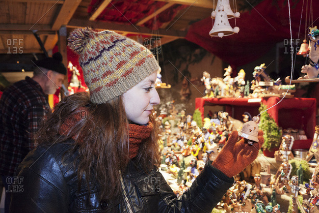 Young woman on the Christmas fair, Esslingen am Neckar (river), Baden-Württemberg, Germany