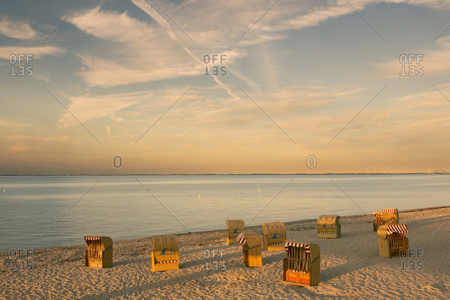 Northern Germany - September 6, 2016: Beach chair in the evening light
