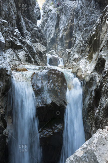 Waterfall, rock in the hollental gorge close Garmisch-Partenkirchen