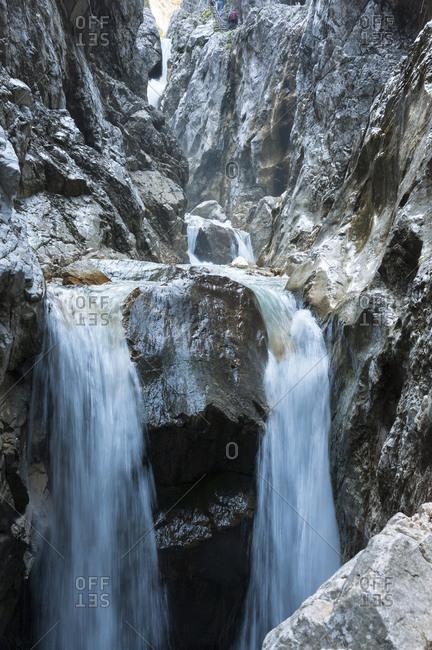 Waterfall, rock in the hollental gorge close Garmisch-Partenkirchen