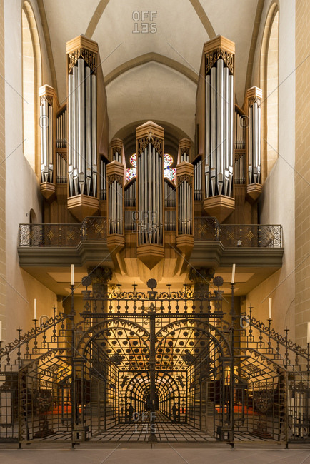 Paderborn, Germany - March 6, 2017: Organ in the paderborn cathedral