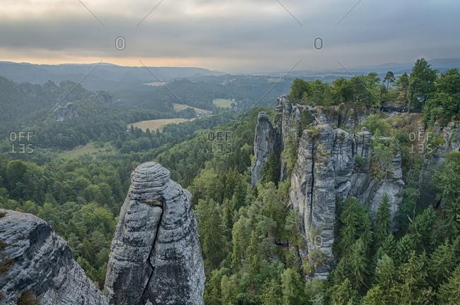Germany, Saxon Switzerland, bastei, view, break of dawn,