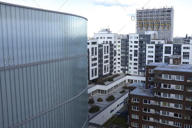 Hamburg, Germany - August 20, 2016: Ikea altona car park and residential blocks