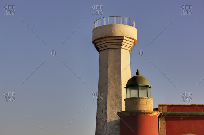 Spain, fuerteventura, punta de toston, faro de toston, lighthouse, two former lighthouses, sky, evening light