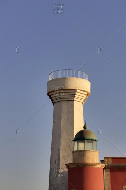 Spain, fuerteventura, punta de toston, faro de toston, lighthouse, two former lighthouses, sky, evening light