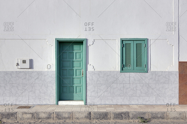 Spain, fuerteventura, puerto punta jandia, wall, house, door, shutters, closed