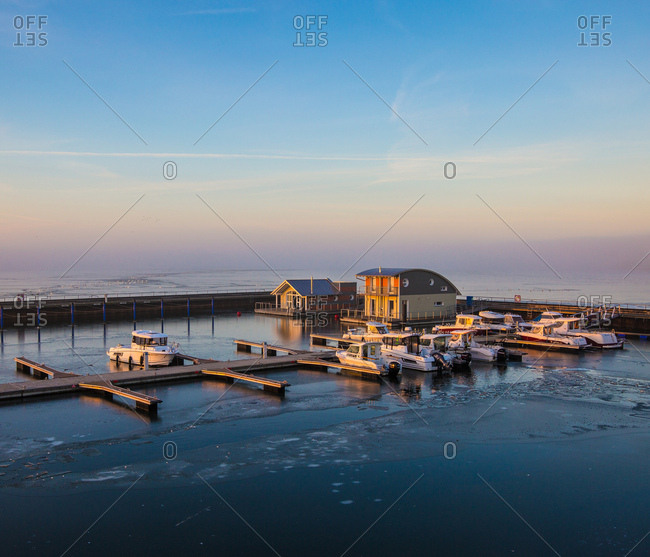 February 14, 2017: Frozen wiek harbor in winter, baltic sea, island Rugen, mecklenburg-west pomerania, Germany