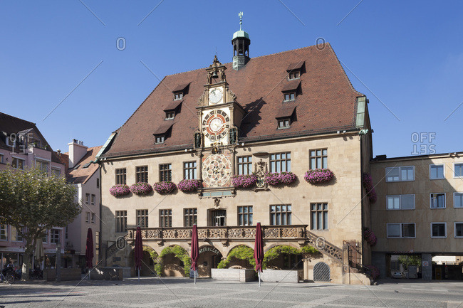 September 24, 2013: City hall at the marktplatz (square), heilbronn, baden-wurttemberg, Germany