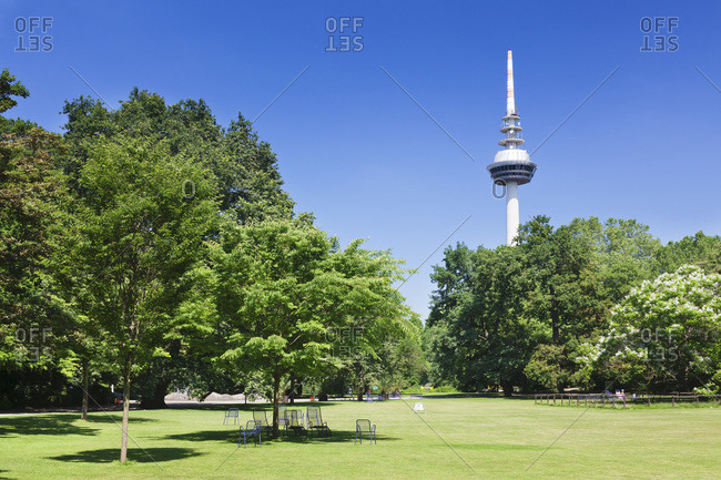 Deck chairs in the luisenpark with television tower in the background, mannheim, baden-wurttemberg, Germany