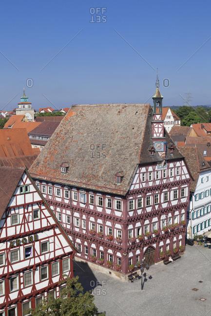 September 3, 2013: City hall at the marktplatz (square) and oberer torturm, markgroningen, baden-wurttemberg, Germany
