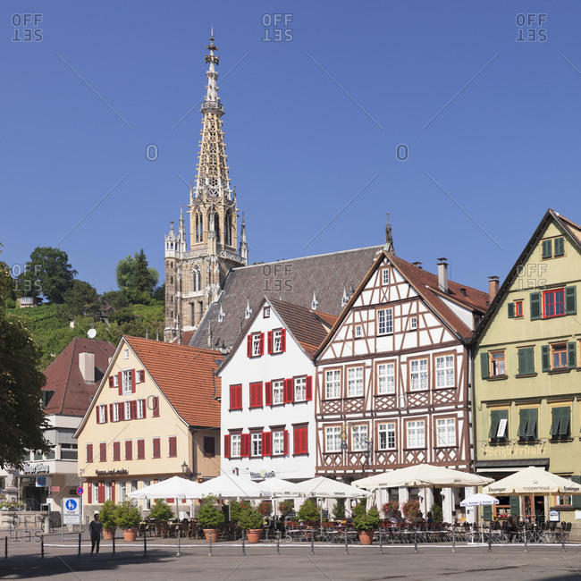 September 9, 2016: Marktplatz (square) with frauenkirche (church), esslingen, baden-wurttemberg, Germany
