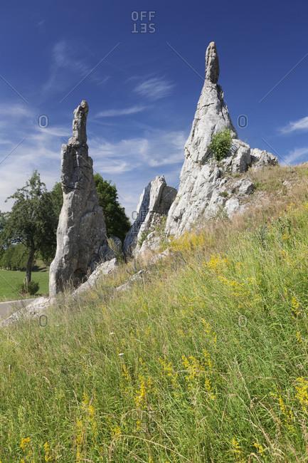 Steinerne jungfrauen in the eselsburger tal, herbrechtingen, swabian alps, baden-wurttemberg