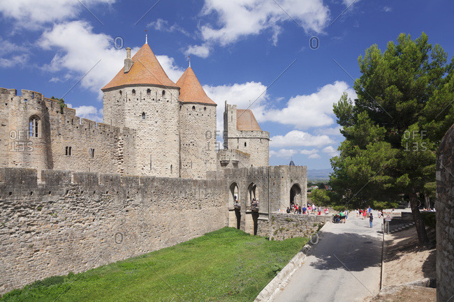 August 30, 2015: La cite, medieval fortress town, carcassonne, unesco world cultural heritage, languedoc-roussillon, the south of france, france