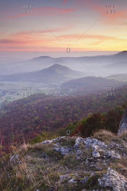 View from the breitenstein over the limburg castle to drei kaiserberge hohenstaufen, rechberg (mountain) and stuifen, weilheim, swabian alps, baden-wurttemberg, Germany