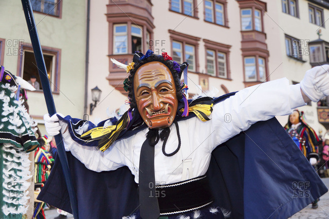 February 21, 2012: The statue of the federahannes, narrensprung in rottweil, rottweiler fasnet, rottweil, swabian-alemannic fastnacht fasnat, black forest, baden-wurttemberg, Germany