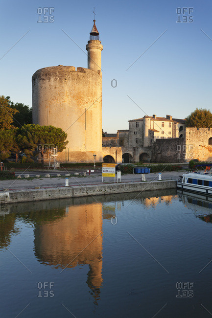 August 28, 2015: Tour de constance at sundown, aigues mortes, petit camargue, department gard, languedoc-roussillon, the south of france, france