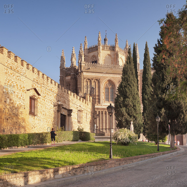 Palacio de la cava, monastery of san juan de los reyes in the background, Toledo, kastilien-la mancha, spain