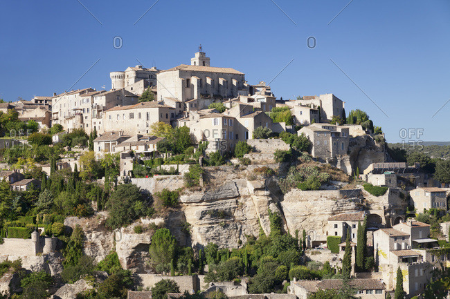 Old town with renaissance castle, gordes, provence, provence-alpes-cote d'azur, the south of france, france, europe