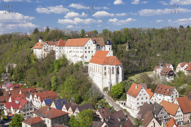 May 7, 2016: Haigerloch in the eyachtal with palace church and palace, swabian alps, baden-wurttemberg, Germany