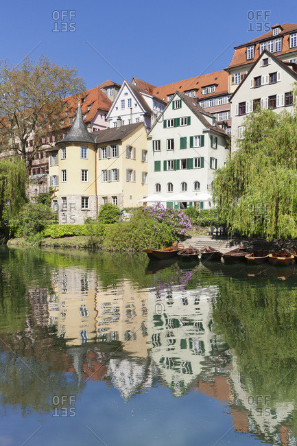 Old town of Tubingen with holderlinturm / holderlin tower is reflecting in the neckar (river), Tubingen, baden-wurttemberg, Germany
