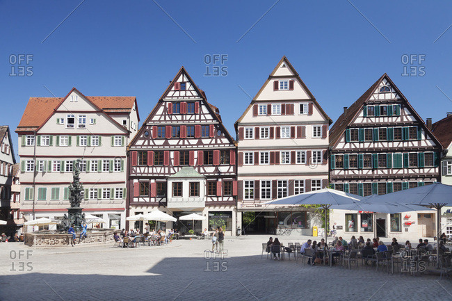 May 8, 2016: Fountain with half-timbered houses on the marktplatz (square), Tubingen, baden-wurttemberg, Germany