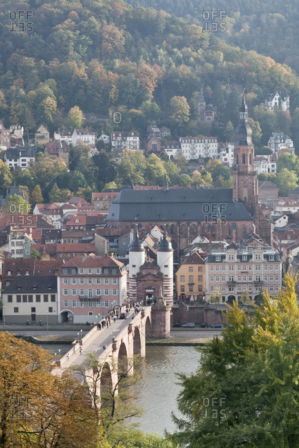 October 21, 2010: Karl theodor bridge (gate) with town gate and holy spirit church, heidelberg, baden-wurttemberg, Germany