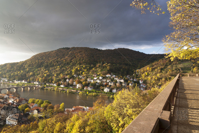View from the castle grounds on heidelberg and the neckar (river), baden-wurttemberg, Germany