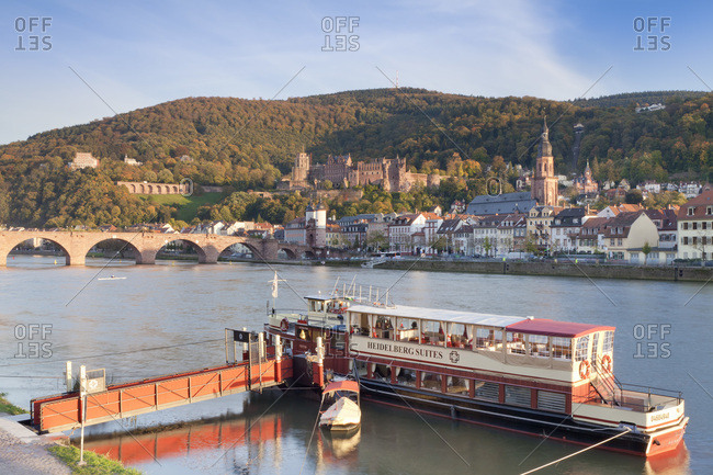 October 21, 2010: Restaurant ship in front of the old town of heidelberg on the neckar (river), baden-wurttemberg, Germany