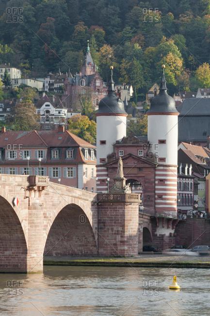 Town gate at the karl theodor bridge (bridge), heidelberg, baden-wurttemberg, Germany