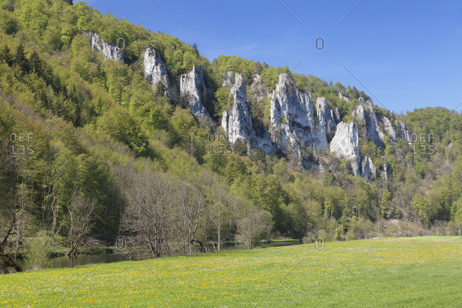 Donautal in the spring, upper danube, swabian alps, baden-wurttemberg, Germany