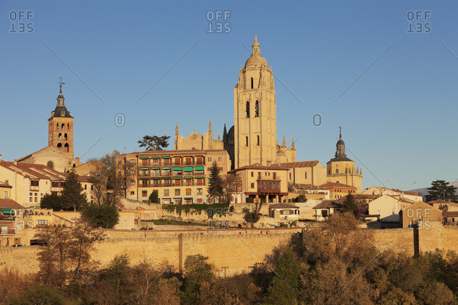 Cathedral and old town, segovia, castile and leon, spain