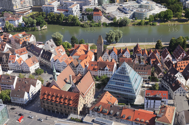 July 20, 2016: View from ulm minster to the old town with town hall, central library in glaspyramide and neu-ulm, ulm an der donau, baden-wurttemberg, Germany