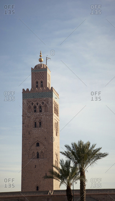 Detail of mosque tower in Marrakech, morocco