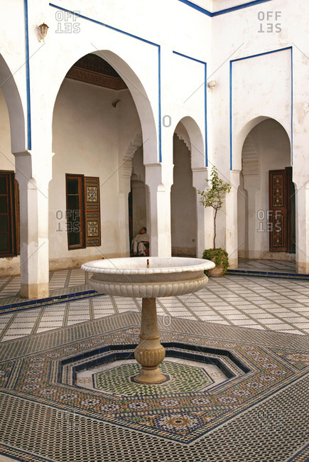 December 6, 2015: Water fountain in a the riad, Marrakech