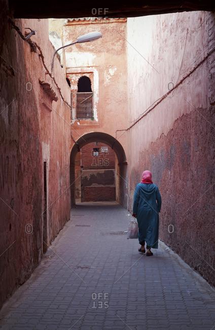 Marrakech, old town, lane, woman, morocco