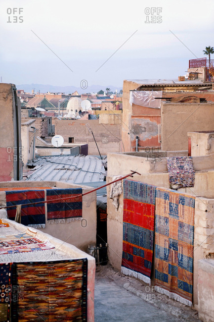 Marrakech, old town, roof, carpet