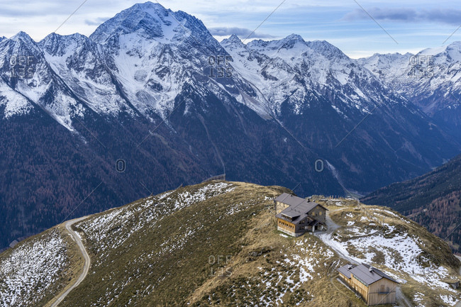 Austria, tyrol, stubai, neustift, view at the starkenburger hut and the stubai alps