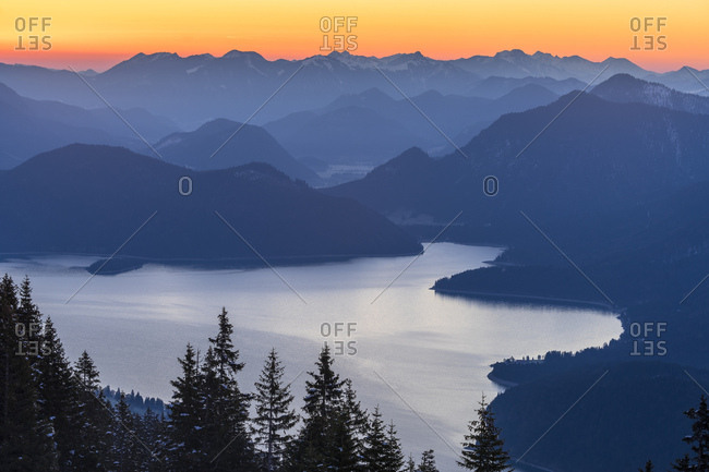 Germany, bavaria, walchensee, sunrise above the walchensee in bavaria
