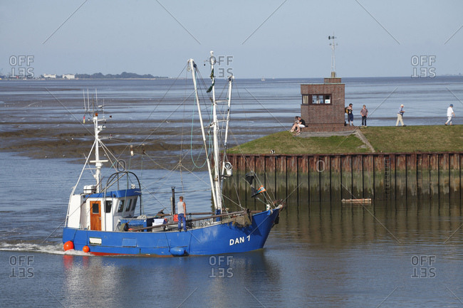 September 15, 2016: Fishing cutter, sluice harbor, north sea resort dangast, varel-dangast, lower saxony, Germany, europe