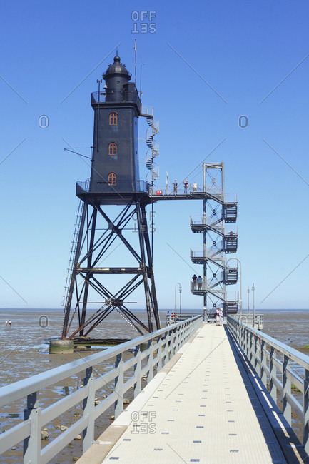 July 20, 2016: Lighthouse obereversand, dorumer neufeld, dorum, lower saxony, Germany, europe