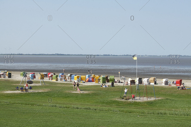 September 15, 2016: Camping site on the beach, in the background wilhelmshaven, north sea resort dangast, varel-dangast, lower saxony, Germany, europe